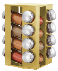 Revolving Spice Rack (Gold, 16 Jars) | Buy Online at The Asian Cookshop.