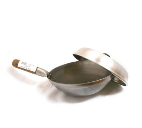 SET | Round Bottom Carbon Steel Wok with Lid Cover
