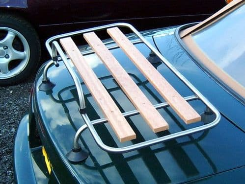 Boot / luggage rack, stainless steel & wood, s/s, with fitting kit
