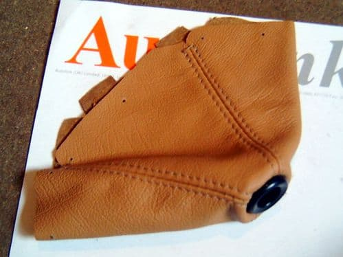 Gear lever gaiter with top ring, tan leather, Mazda MX-5 mk1