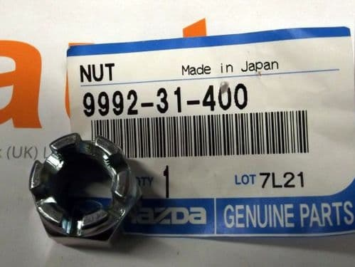 Nut, Mazda MX-5 lower balljoint, genuine Mazda, castellated, 999231400
