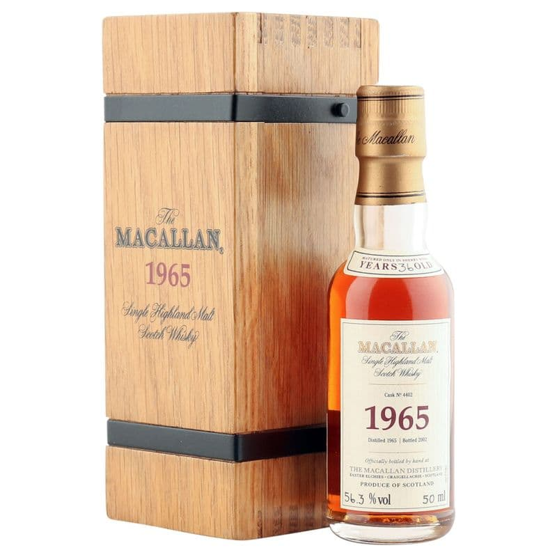 Macallan 1965 36 Year Old, Fine & Rare 2002 Miniature with Wooden Box