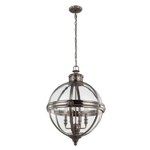 Adams Large Nickel Interior Lantern - Feiss Lighting