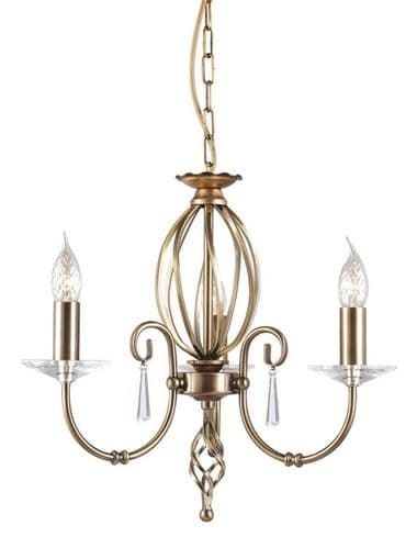 Aegean Aged Brass 3 Light Chandelier - Elstead Lighting