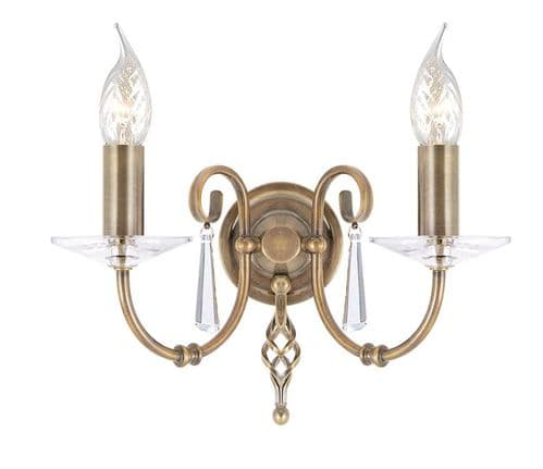 Aegean Aged Brass Double Wall Light - Elstead Lighting