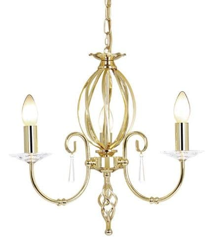 Aegean Polished Brass 3 Light Chandelier - Elstead Lighting