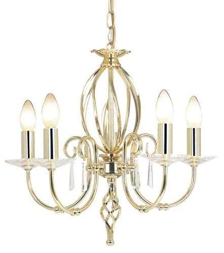 Aegean Polished Brass 5 Light Chandelier - Elstead Lighting