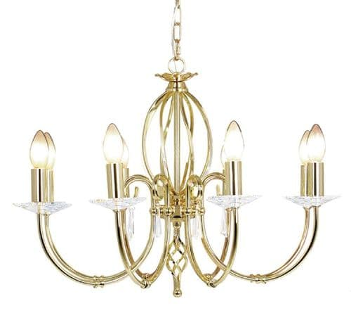 Aegean Polished Brass 8 Light Chandelier - Elstead Lighting