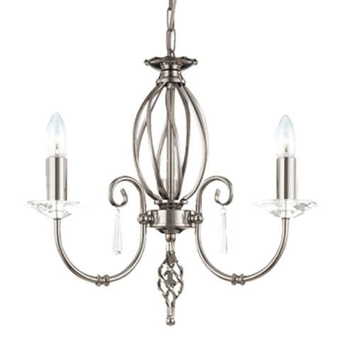 Aegean Polished Nickel 3 Light Chandelier - Elstead Lighting