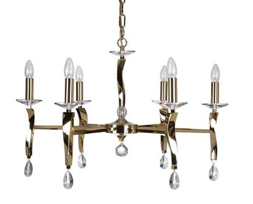 Aire Gold 6 Light Chandelier - Oaks Lighting