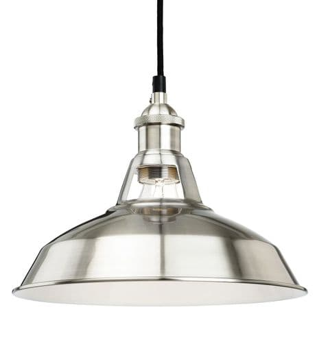 Albany Brushed Steel Single Light Pendant - Firstlight Lighting