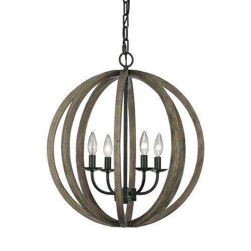 Allier 4 Light Weathered Wood Ceiling Pendant - Feiss Lighting