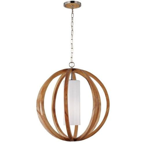 Allier Large Light Wood Ceiling Light Pendant - Feiss Lighting