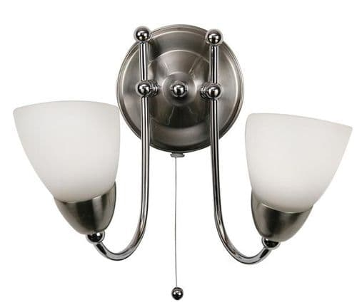 Altair Switched Double Wall Light Chrome - Oaks Lighting