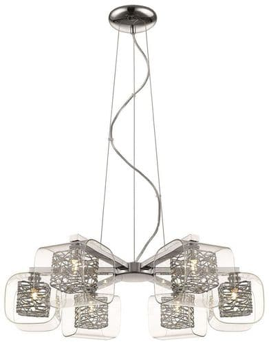 Anne Chrome 6 Light Ceiling Light Pendant - Luxury Lighting