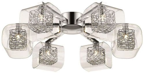 Anne Chrome 6 Light Flush Ceiling Light - Luxury Lighting