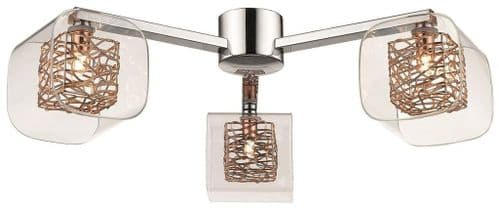 Anne Copper 3 Light Flush Ceiling Light - Luxury Lighting
