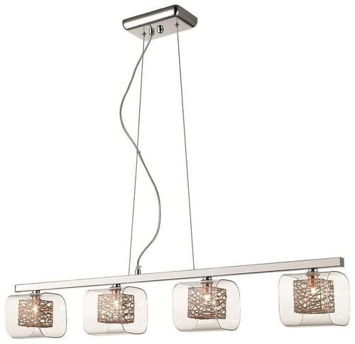 Anne Copper 4 Light Linear Ceiling Light Pendant - Luxury Lighting