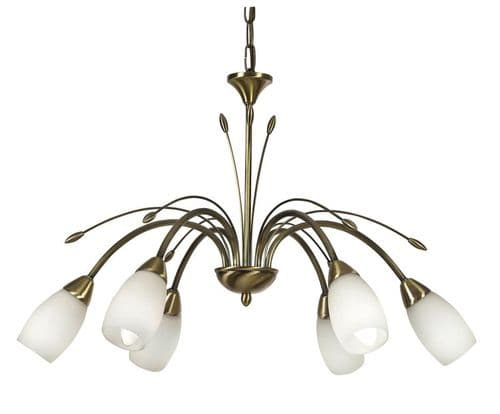 Antwerp 6 Light Ceiling Light Antique Brass - Oaks Lighting