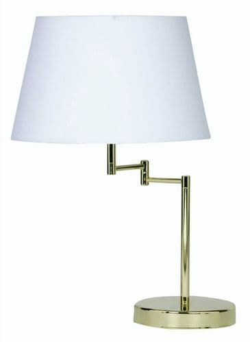 Armada Polished Brass Swing Arm Table Lamp with Shade - Oaks Lighting