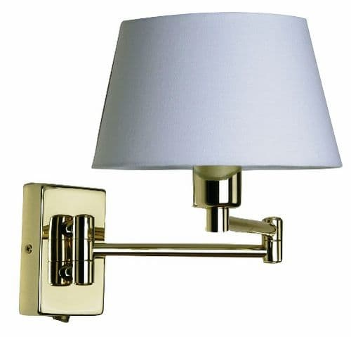 Armada Polished Brass Switched Double Swing Arm Wall Light - Oaks Lighting