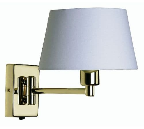 Armada Polished Brass Switched Swing Arm Wall Light - Oaks Lighting