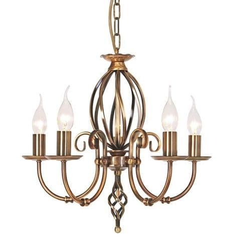 Artisan Aged Brass 5 Light Chandelier - Elstead Lighting