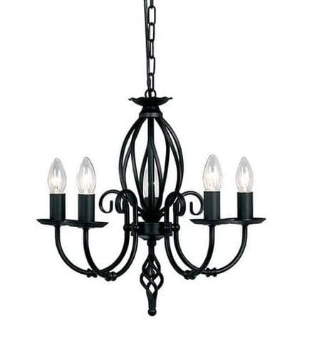 Artisan Black 5 Light Chandelier - Elstead Lighting