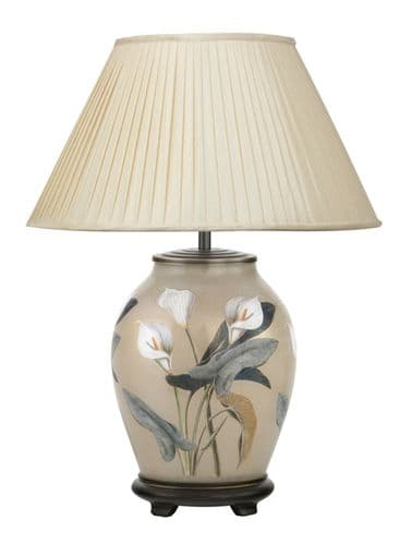 Arum Lily Medium Oval Table Lamp with Shade - Jenny Worrall
