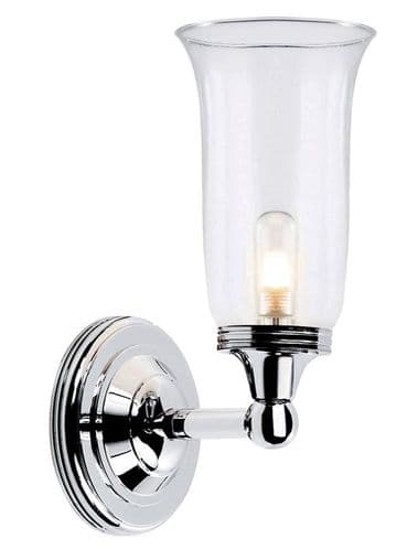 Austen Polished Chrome Wall Light with Clear Glass - Elstead Lighting
