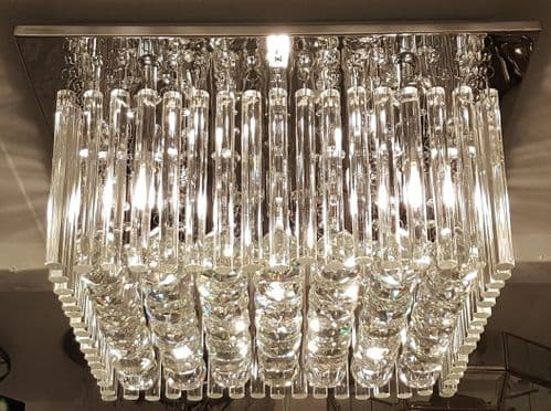 Bacall Square Crystal Flush Ceiling Light - Luxury Lighting