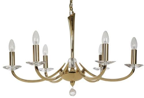 Bahia Gold 6 Light Chandelier - Oaks Lighting