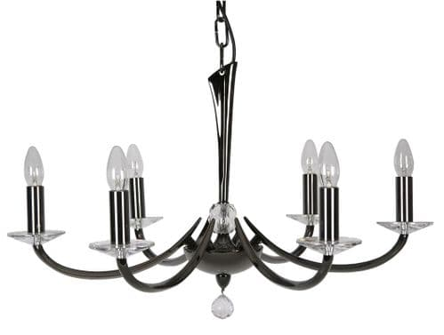 Bahia Titanium 6 Light Chandelier - Oaks Lighting