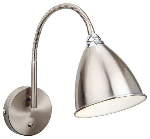 Bari Brushed Steel Flexi Wall Light - Firstlight Lighting