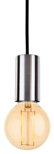 Berkeley Brushed Steel Single Light Pendant - Firstlight Lighting