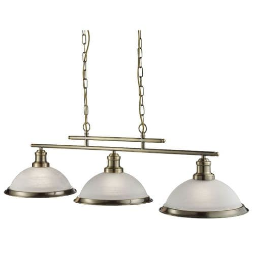 Bistro Antique Brass 3 Light Linear Ceiling Light Pendant - Searchlight Lighting