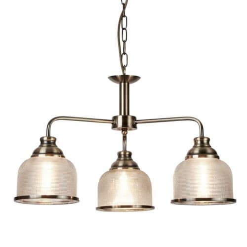 Bistro II Antique Brass 3 Light Ceiling Light - Searchlight Lighting