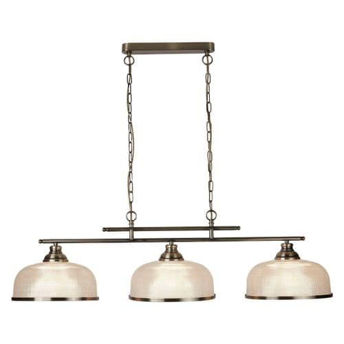 Bistro II Antique Brass 3 Light Linear Ceiling Light Pendant - Searchlight Lighting