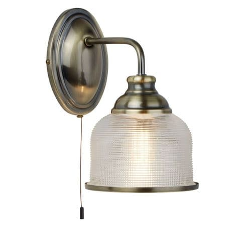 Bistro II Antique Brass Single Switched Wall Light - Searchlight Lighting