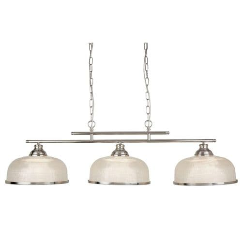 Bistro II Satin Silver 3 Light Linear Ceiling Light Pendant - Searchlight Lighting