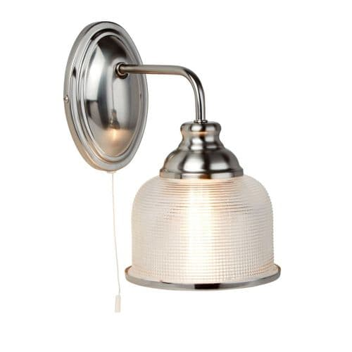 Bistro II Satin Silver Single Switched Wall Light - Searchlight Lighting