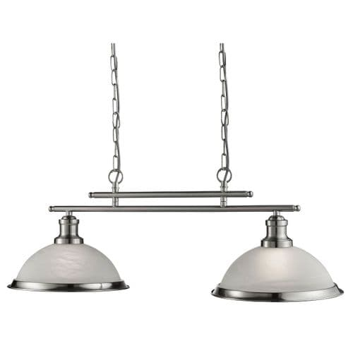 Bistro Satin Silver 2 Light Linear Ceiling Light Pendant - Searchlight Lighting