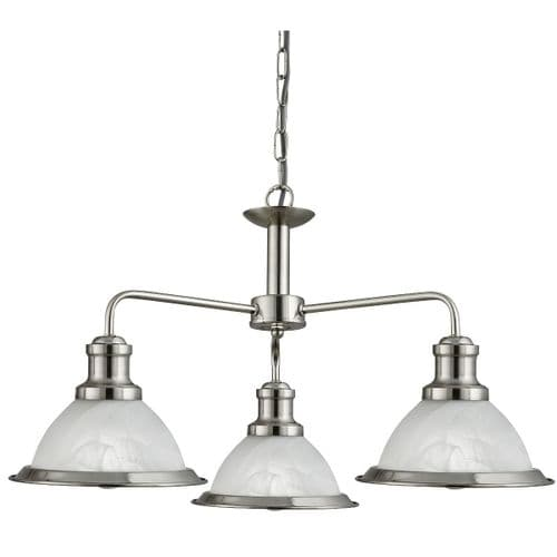 Bistro Satin Silver 3 Light Ceiling Light Pendant - Searchlight Lighting