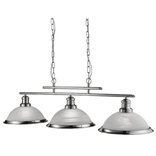 Bistro Satin Silver 3 Light Linear Ceiling Light Pendant - Searchlight Lighting