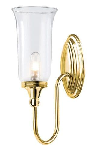 Blake Polished Brass Wall Light with Clear Glass - Elstead Lighting