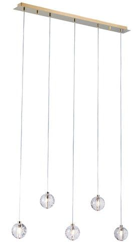 Bubbles 5 Light Linear Ceiling Light Pendant in Gold - Avivo Lighting