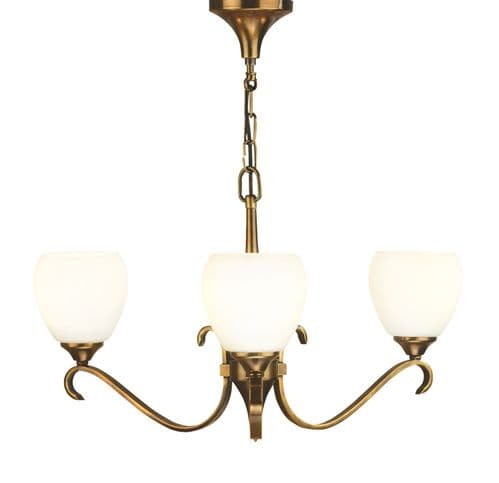 Columbia Antique Brass 3 Light Chandelier with Opal Shades - Interiors 1900