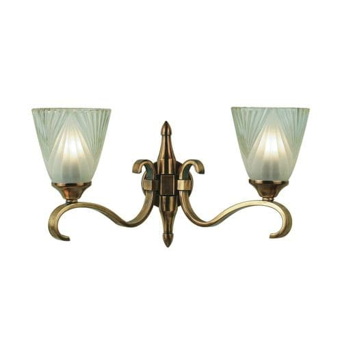 Columbia Antique Brass Double Wall Light with Deco Shades - Interiors 1900