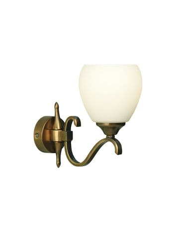 Columbia Antique Brass Single Wall Light with Opal Shade - Interiors 1900