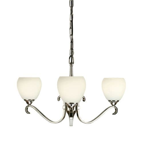 Columbia Nickel 3 Light Chandelier with Opal Shades - Interiors 1900